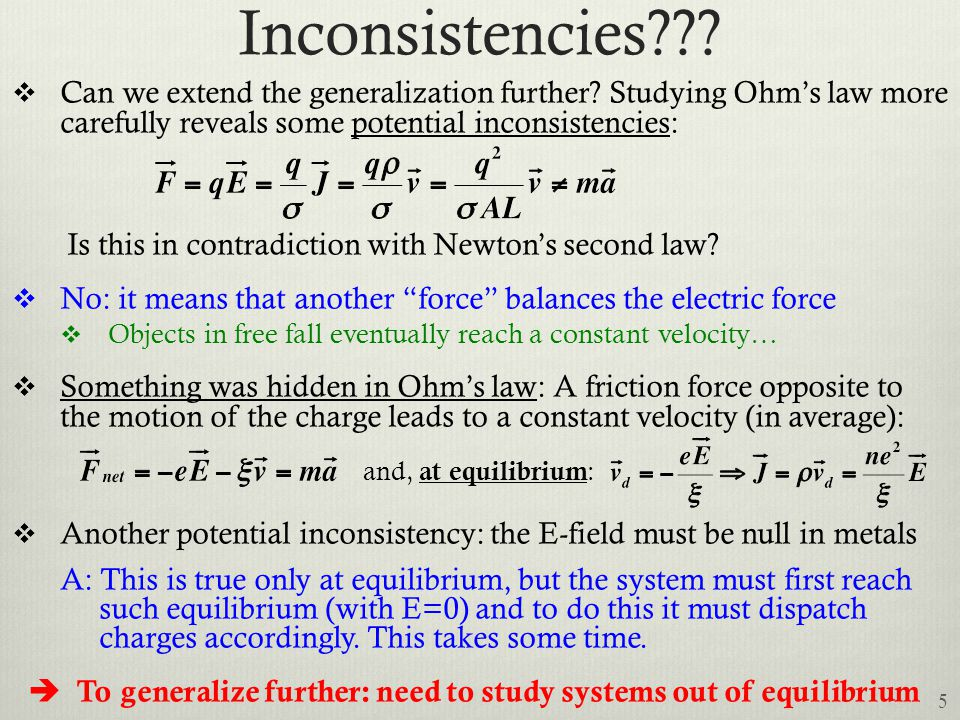 Inconsistencies???  Can we extend the generalization further? Studying Ohm's law more carefully reveals some potential inconsistencies: Is this in co