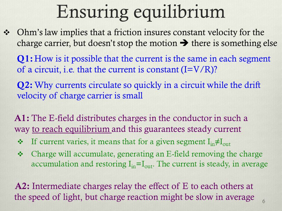 Ensuring equilibrium  Ohm's law implies that a friction insures constant velocity for the charge carrier, but doesn't stop the motion  there is some