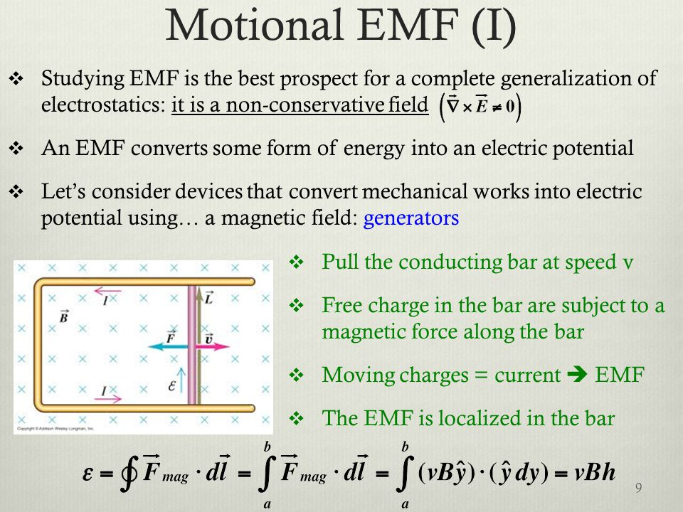 Motional EMF (I)  Studying EMF is the best prospect for a complete generalization of electrostatics: it is a non-conservative field  An EMF converts