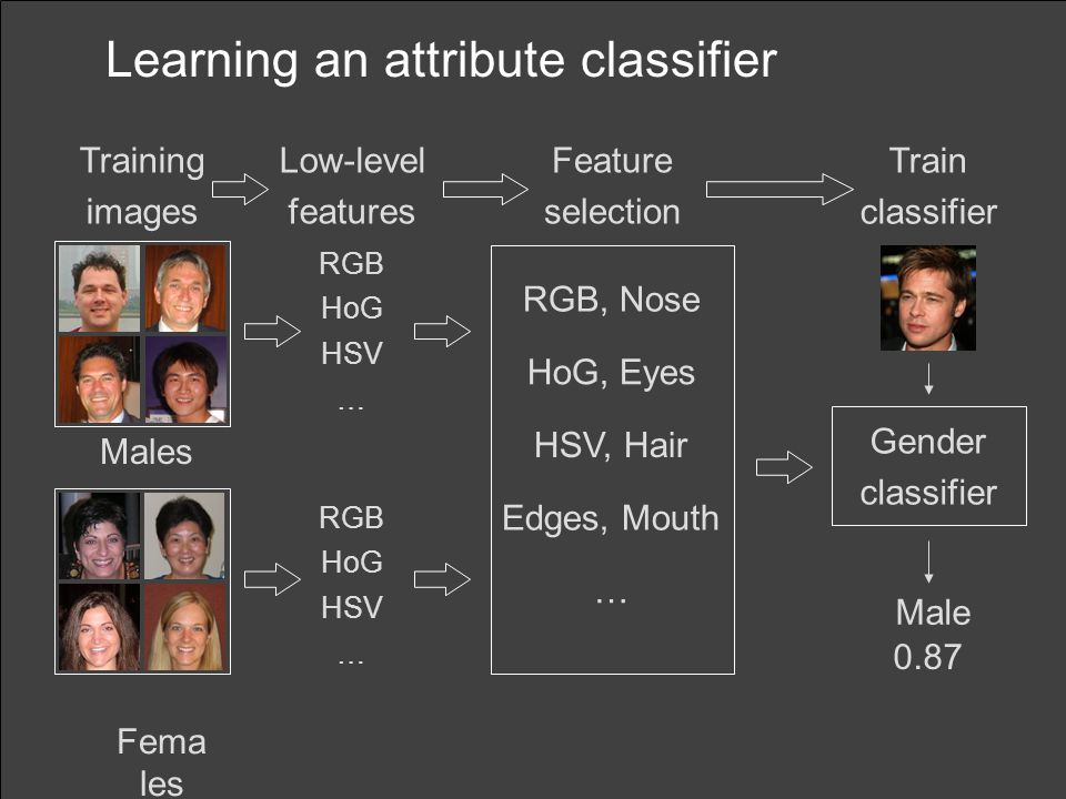 Learning an attribute classifier Males Fema les Gender classifier Male Feature selection Train classifier Training images Low-level features RGB HoG HSV … RGB HoG HSV … RGB, Nose HoG, Eyes HSV, Hair Edges, Mouth … 0.87