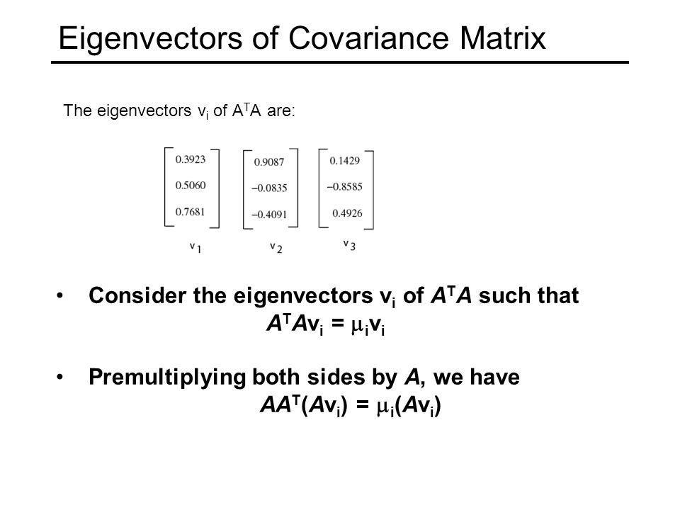 Eigenvectors of Covariance Matrix The eigenvectors v i of A T A are: Consider the eigenvectors v i of A T A such that A T Av i =  i v i Premultiplying both sides by A, we have AA T (Av i ) =  i (Av i )