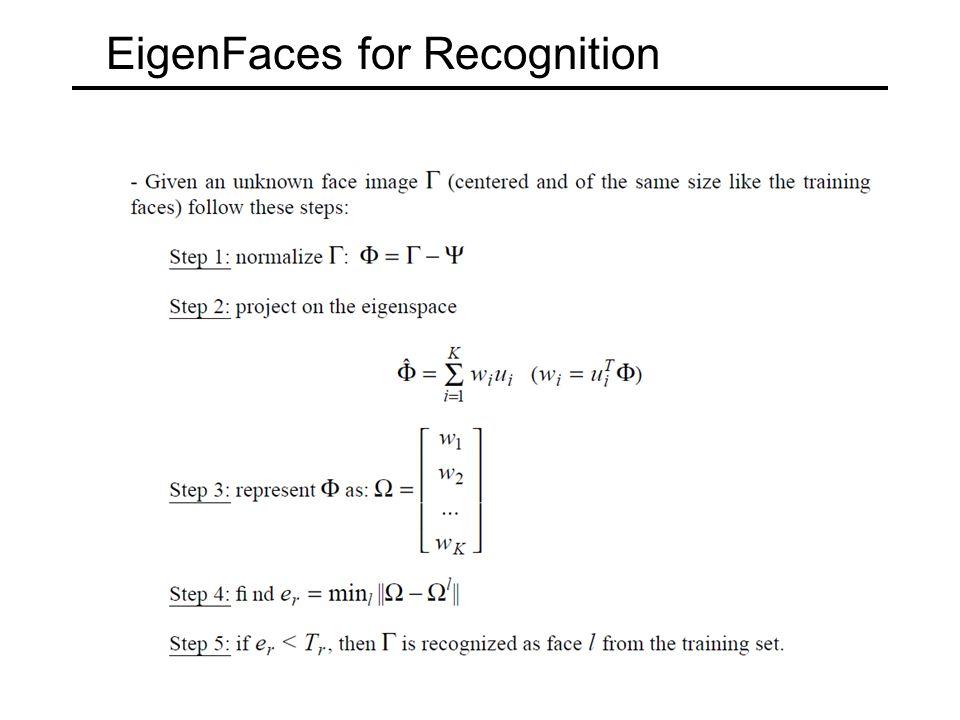 EigenFaces for Recognition