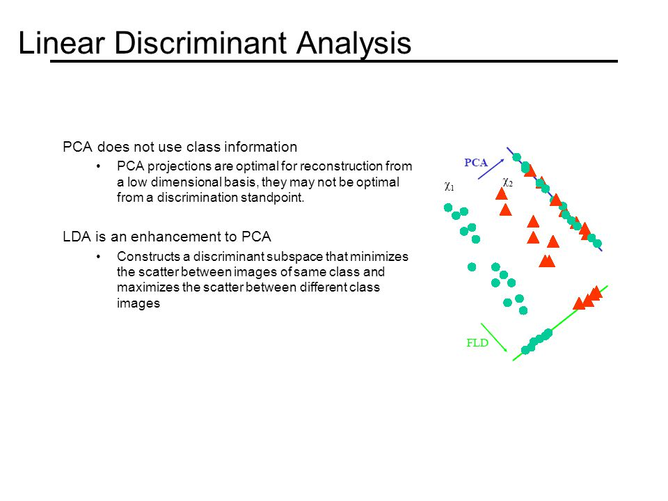 Linear Discriminant Analysis PCA does not use class information PCA projections are optimal for reconstruction from a low dimensional basis, they may not be optimal from a discrimination standpoint.