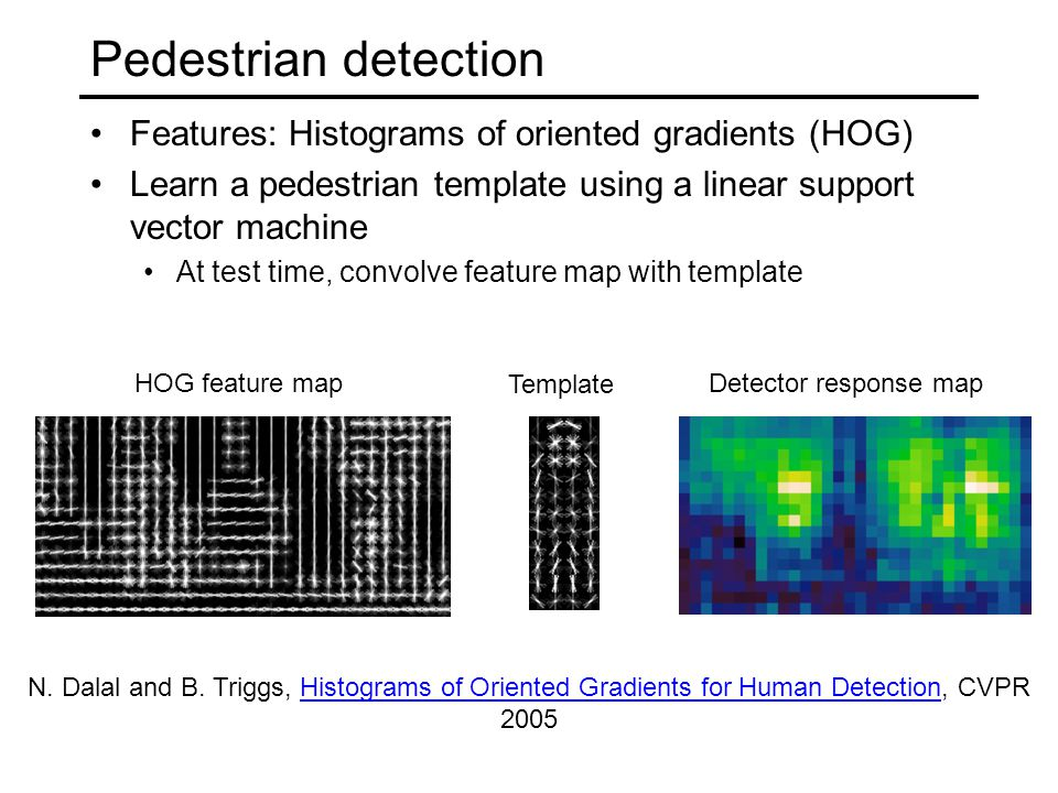 Pedestrian detection Features: Histograms of oriented gradients (HOG) Learn a pedestrian template using a linear support vector machine At test time,