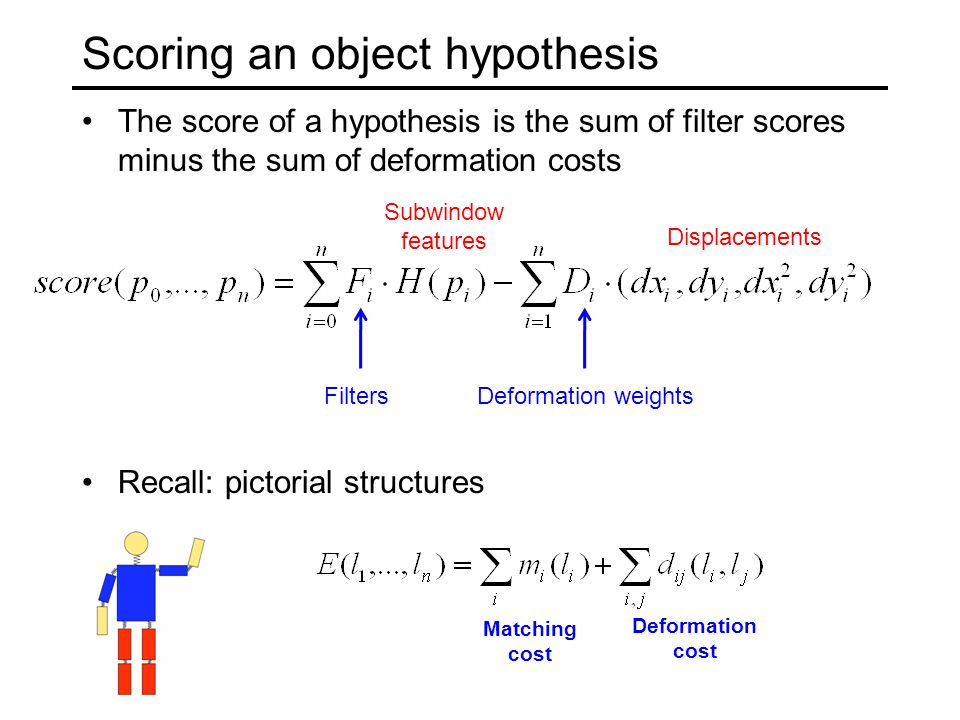Scoring an object hypothesis The score of a hypothesis is the sum of filter scores minus the sum of deformation costs Recall: pictorial structures Mat