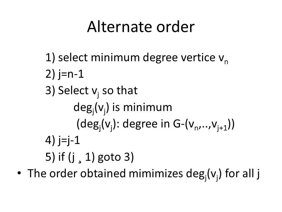Alternate order 1) select minimum degree vertice v n 2) j=n-1 3) Select v j so that deg j (v j ) is minimum (deg j (v j ): degree in G-(v n,..,v j+1 )) 4) j=j-1 5) if (j ¸ 1) goto 3) The order obtained mimimizes deg j (v j ) for all j