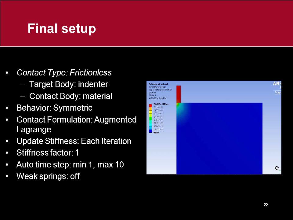 Final setup Contact Type: Frictionless –Target Body: indenter –Contact Body: material Behavior: Symmetric Contact Formulation: Augmented Lagrange Upda