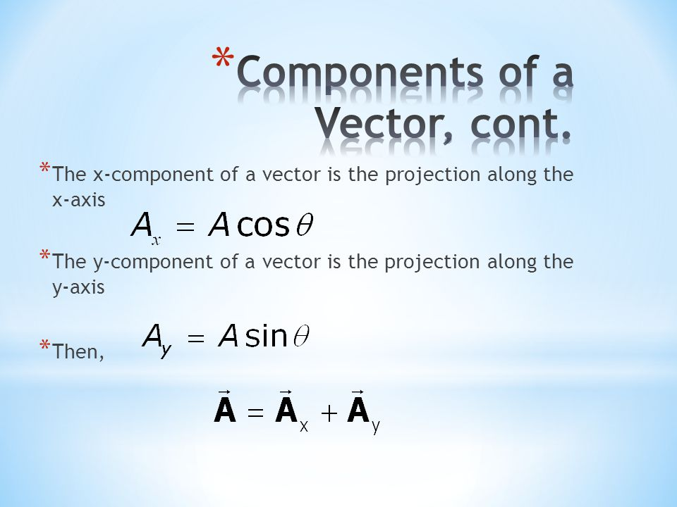 * The x-component of a vector is the projection along the x-axis * The y-component of a vector is the projection along the y-axis * Then,