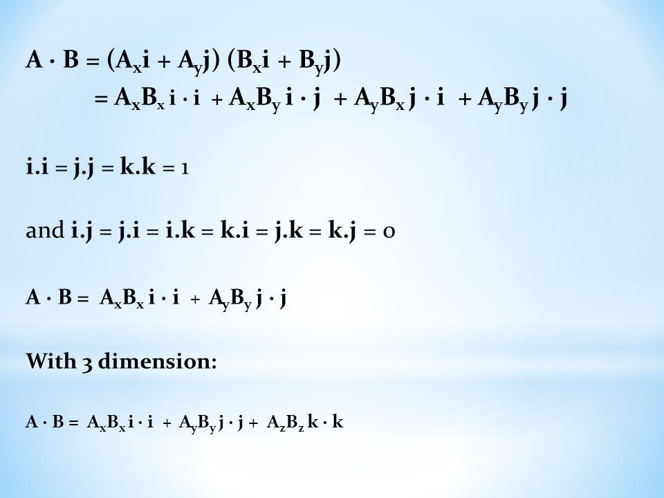 A ∙ B = (A x i + A y j) (B x i + B y j) = A x B x i ∙ i + A x B y i ∙ j + A y B x j ∙ i + A y B y j ∙ j i.i = j.j = k.k = 1 and i.j = j.i = i.k = k.i