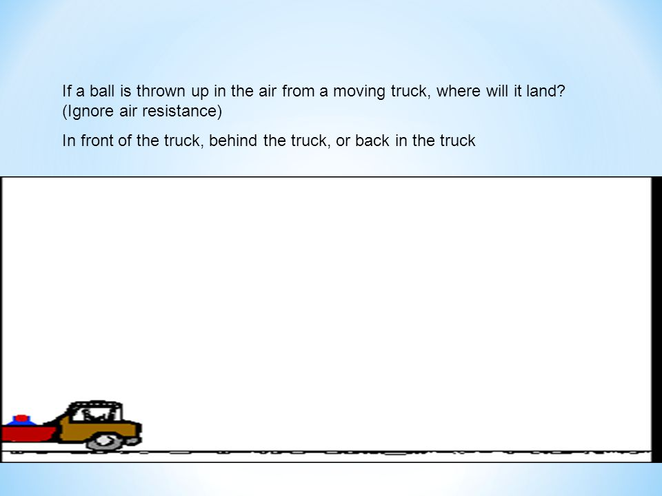 If a ball is thrown up in the air from a moving truck, where will it land? (Ignore air resistance) In front of the truck, behind the truck, or back in