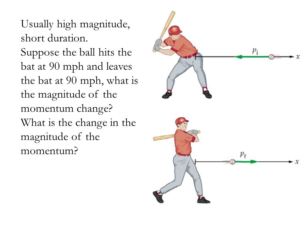Usually high magnitude, short duration. Suppose the ball hits the bat at 90 mph and leaves the bat at 90 mph, what is the magnitude of the momentum ch