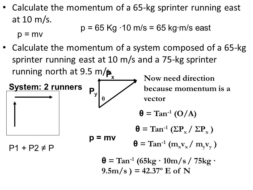 Calculate the momentum of a 65-kg sprinter running east at 10 m/s. Calculate the momentum of a system composed of a 65-kg sprinter running east at 10