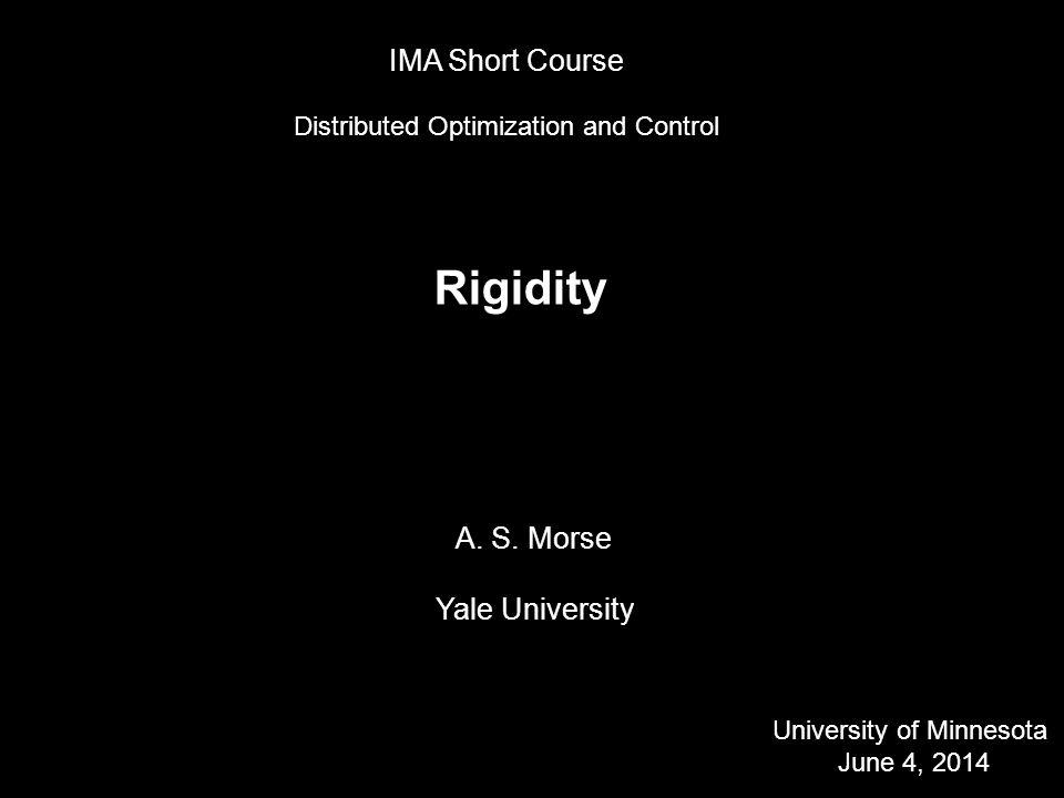 Algebraic Conditions for Infinitesimal Rigidity in R d Distance constraints: ||x i – x j || 2 = distance ij 2, (i, j) 2 L.