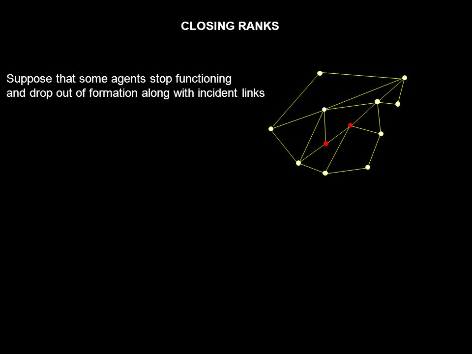 CLOSING RANKS Suppose that some agents stop functioning and drop out of formation along with incident links