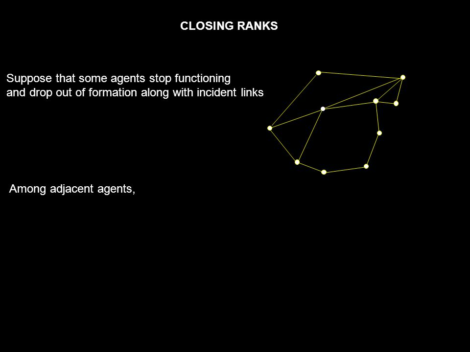 CLOSING RANKS Among adjacent agents, Suppose that some agents stop functioning and drop out of formation along with incident links