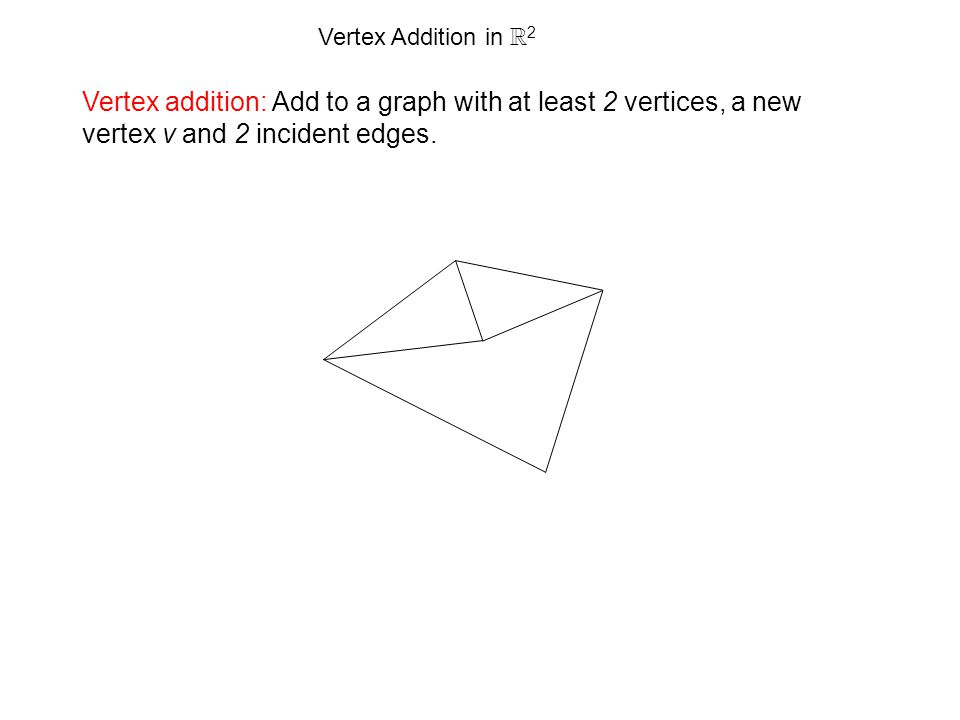 Vertex Addition in R 2 Vertex addition: Add to a graph with at least 2 vertices, a new vertex v and 2 incident edges.