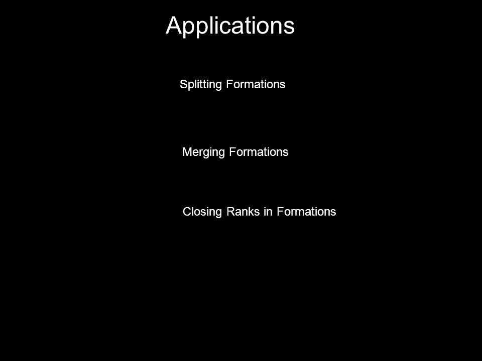 Applications Splitting Formations Merging Formations Closing Ranks in Formations