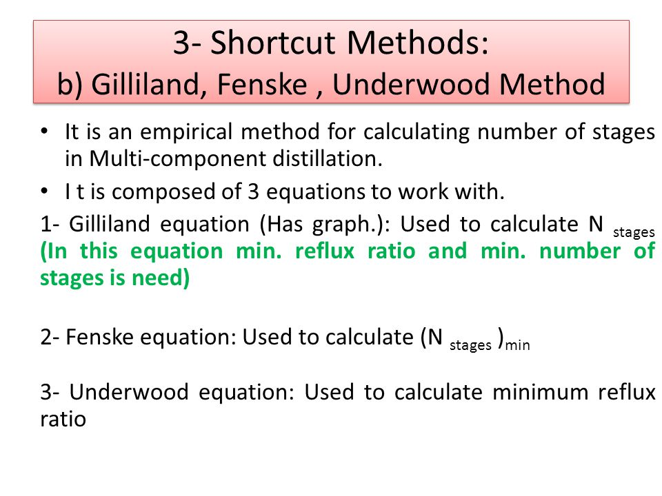 It is an empirical method for calculating number of stages in Multi-component distillation. I t is composed of 3 equations to work with. 1- Gilliland