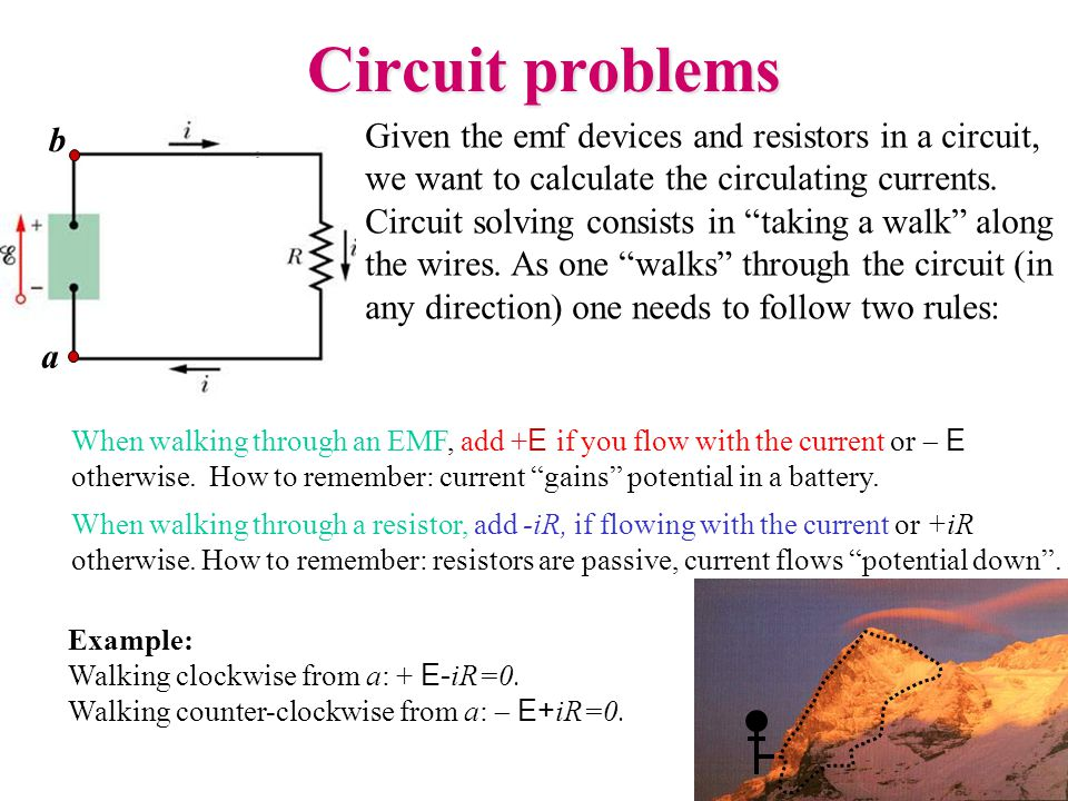 """Given the emf devices and resistors in a circuit, we want to calculate the circulating currents. Circuit solving consists in """"taking a walk"""" along the"""