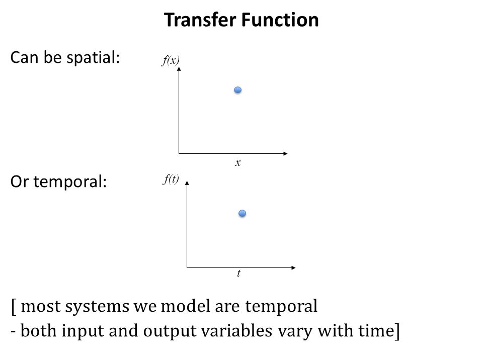 Transfer Function Can be spatial: Or temporal: [ most systems we model are temporal - both input and output variables vary with time] f(x) x f(t) t