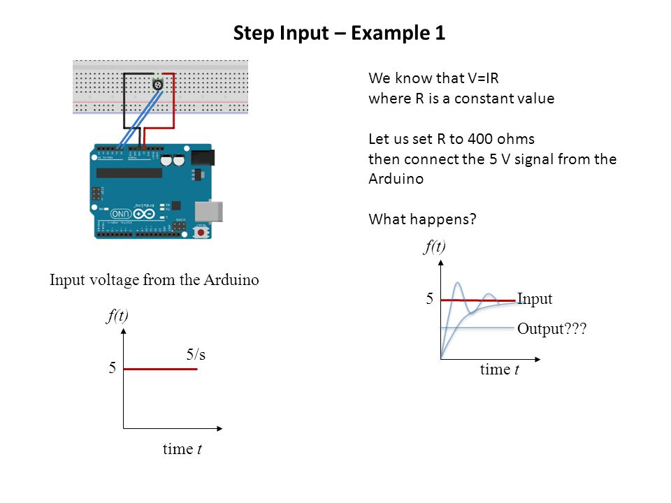 We know that V=IR where R is a constant value Let us set R to 400 ohms then connect the 5 V signal from the Arduino What happens.
