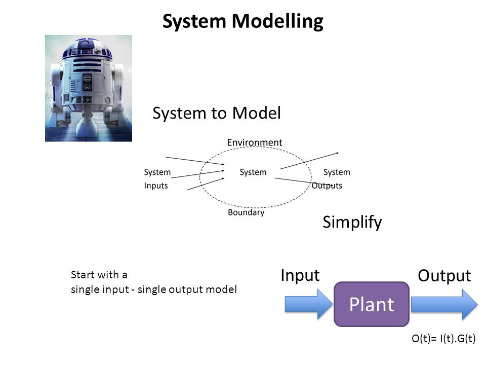 Modelling In order to model a system: 1.We identify input signals [variables] 2.Identify components [things that manipulate variables] – Add/subtract them – Multiply/divide – Integrate/differentiate – Duplicate/merge – … 3.We combine internal signals [modified variables] 4.Produce the output signal [another variable].