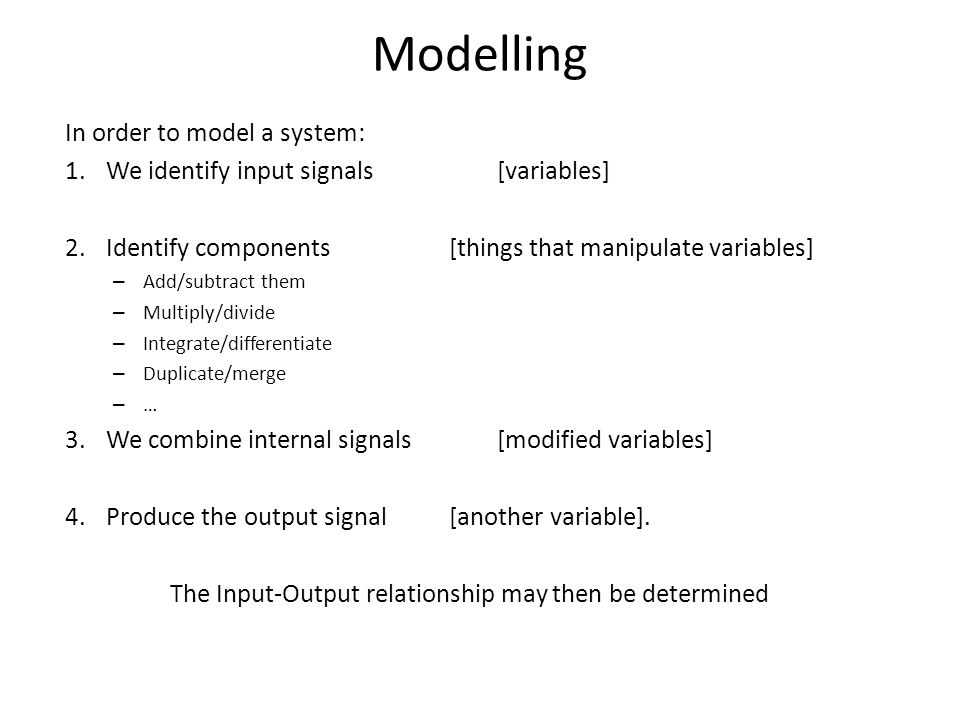 Components of a model: