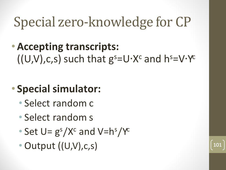 OR-proofs [CDS95,C96] 102 R1 c1 s1 Rel1(X,w) X,w X R2 c2 s2 Rel2(Y,w) Y,w Y Design a protocol for Rel3(X,Y,w) where: Rel3(X,Y,w) iff Rel1(X,w) or Rel2(Y,w)