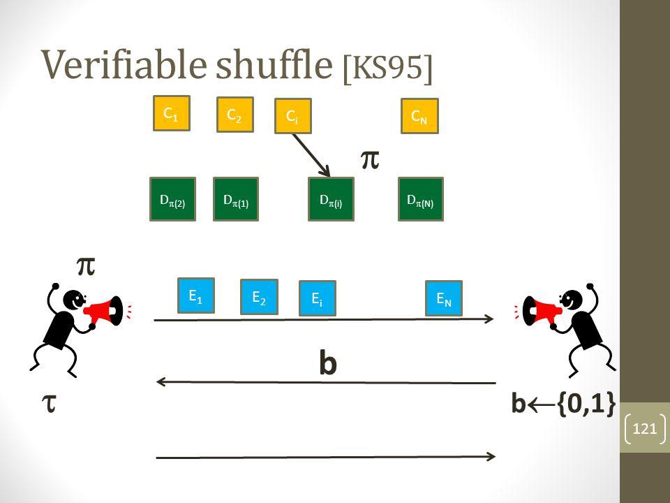 Verifiable shuffle [KS95] 122 C1C1 C2C2 CNCN D  (2) D  (N) D  ( 1) CiCi D  (i) E1E1 E2E2 ENEN  