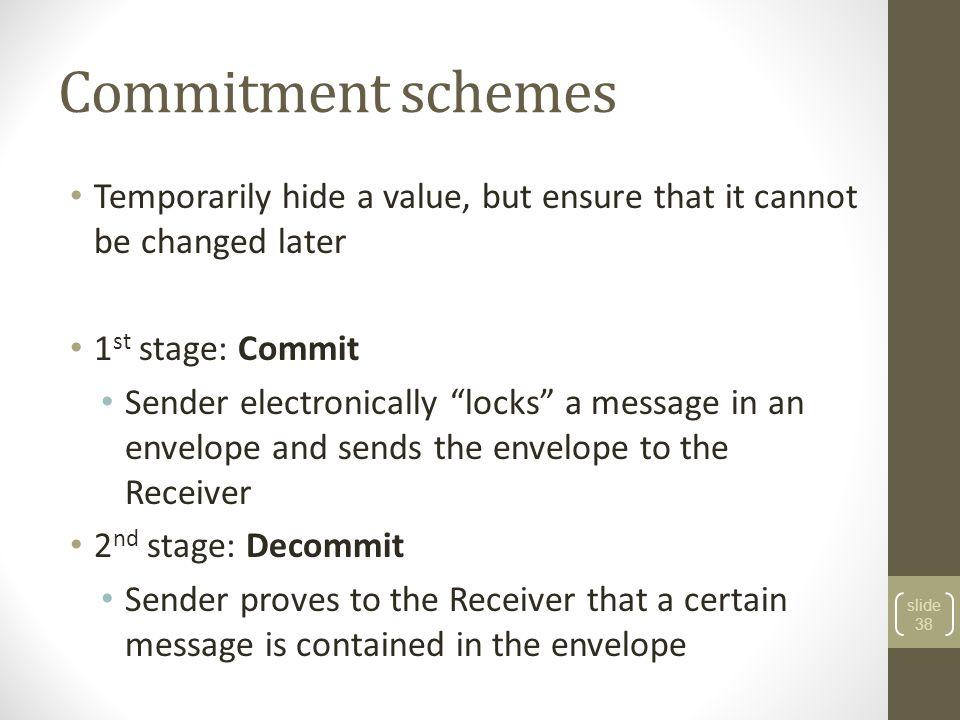 Commitment schemes 39 Commit Decommit m C,d Yes/no Setup ν params