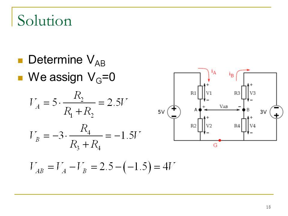 18 Solution Determine V AB We assign V G =0
