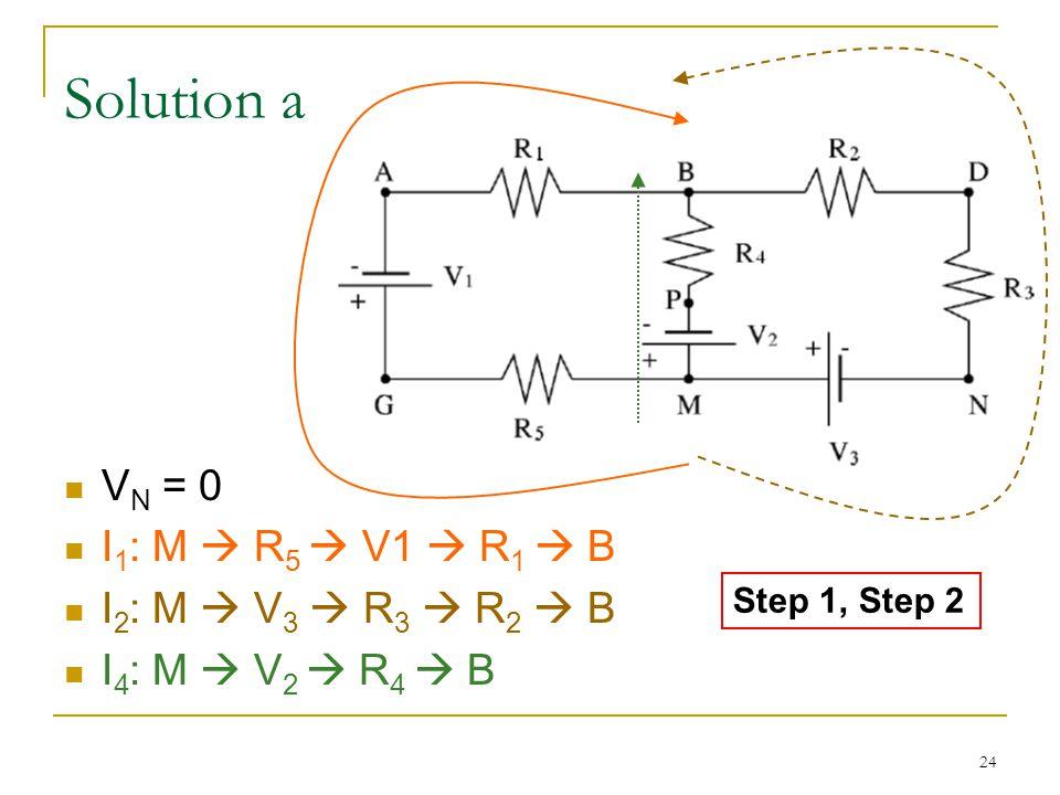 24 Solution a V N = 0 I 1 : M  R 5  V1  R 1  B I 2 : M  V 3  R 3  R 2  B I 4 : M  V 2  R 4  B Step 1, Step 2