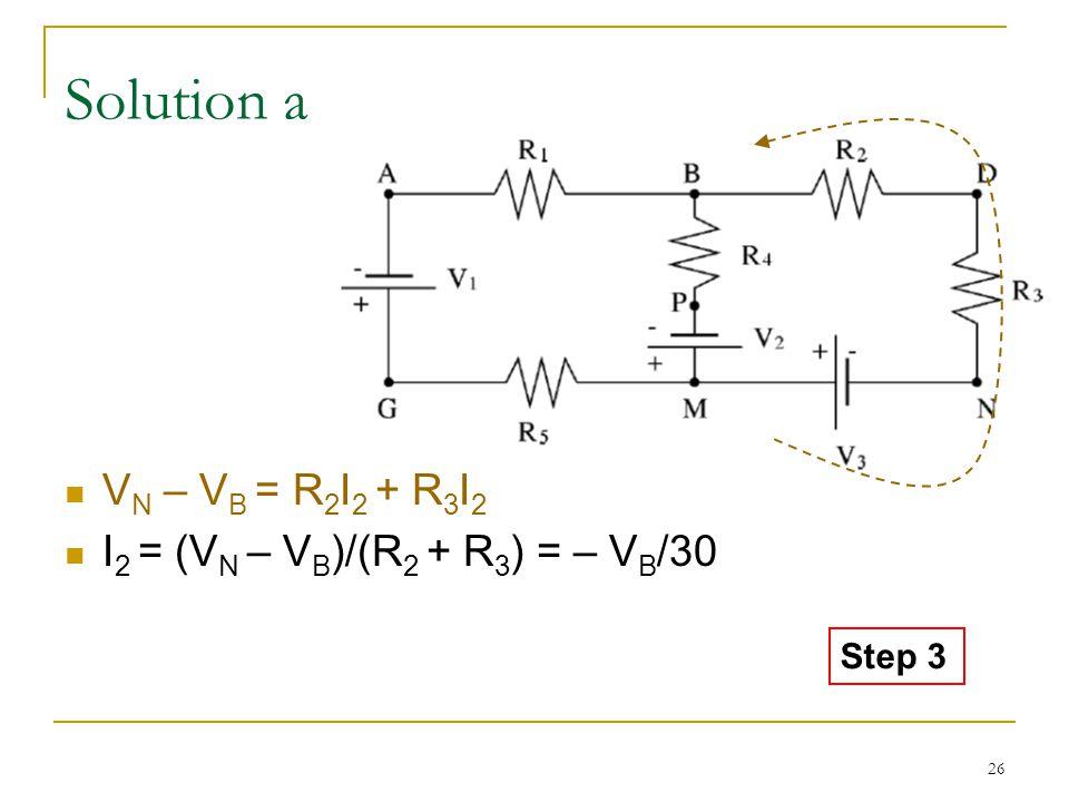 26 Solution a V N – V B = R 2 I 2 + R 3 I 2 I 2 = (V N – V B )/(R 2 + R 3 ) = – V B /30 Step 3