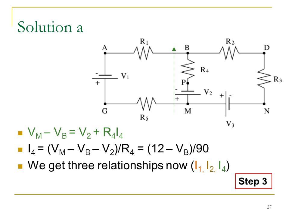 27 Solution a V M – V B = V 2 + R 4 I 4 I 4 = (V M – V B – V 2 )/R 4 = (12 – V B )/90 We get three relationships now (I 1, I 2, I 4 ) Step 3