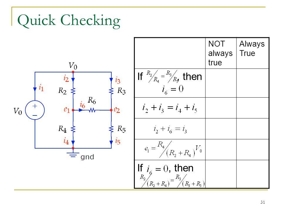 31 Quick Checking NOT always true Always True If, then