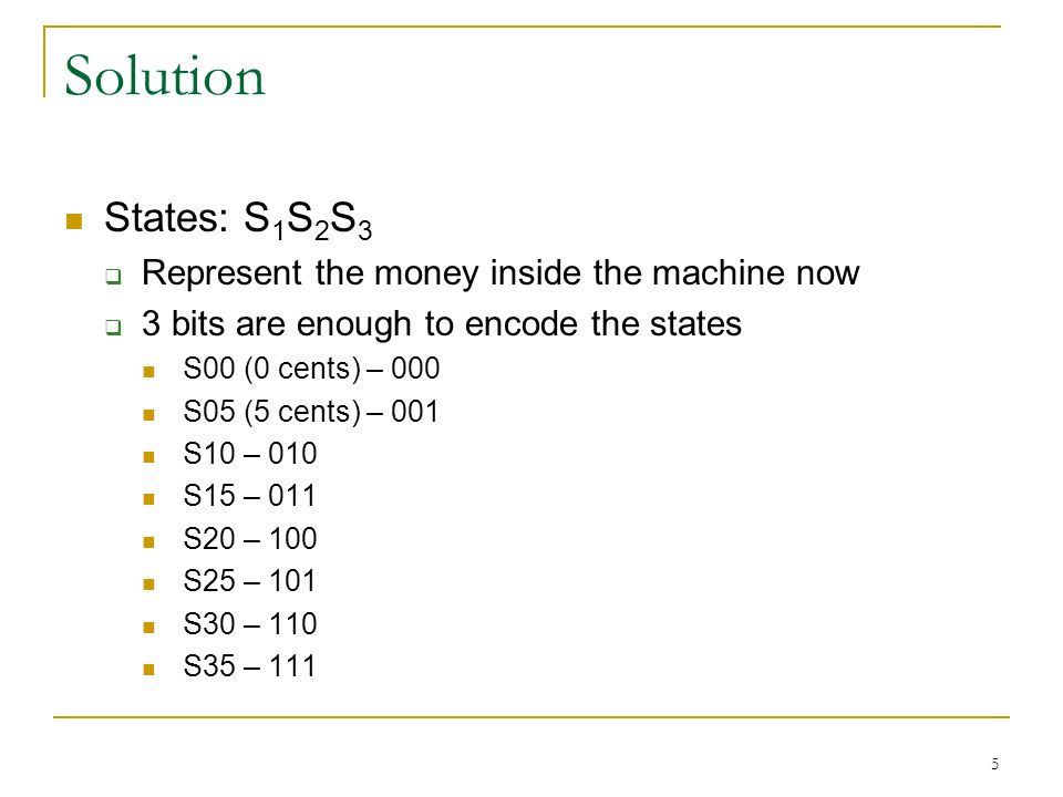 Solution States: S 1 S 2 S 3  Represent the money inside the machine now  3 bits are enough to encode the states S00 (0 cents) – 000 S05 (5 cents) –