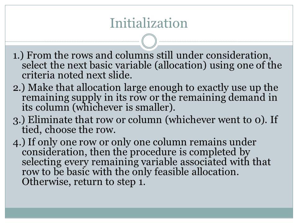 Criterion Northwest Corner Rule: Begin by selecting x 11.