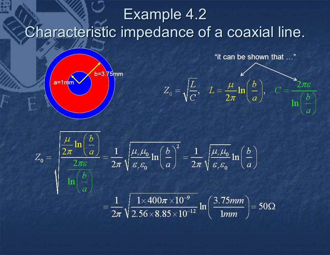 """Example 4.2 Characteristic impedance of a coaxial line. """"it can be shown that …"""" a=1mm b=3.75mm"""
