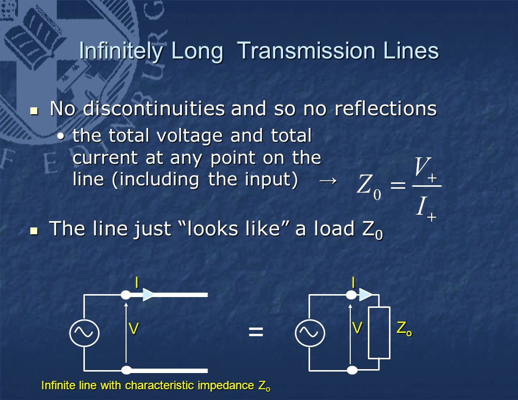 Infinitely Long Transmission Lines No discontinuities and so no reflections No discontinuities and so no reflections the total voltage and total current at any point on the line (including the input) →the total voltage and total current at any point on the line (including the input) → The line just looks like a load Z 0 The line just looks like a load Z 0IV ZoZoZoZoI Infinite line with characteristic impedance Z o V =