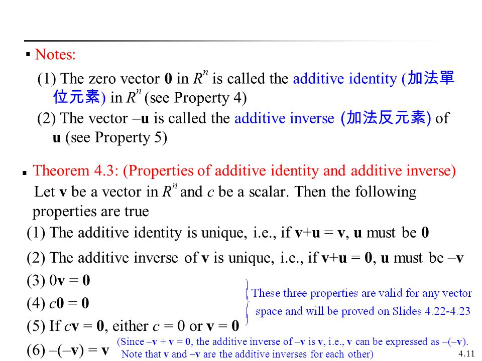 4.11 Theorem 4.3: (Properties of additive identity and additive inverse) Let v be a vector in R n and c be a scalar. Then the following properties are