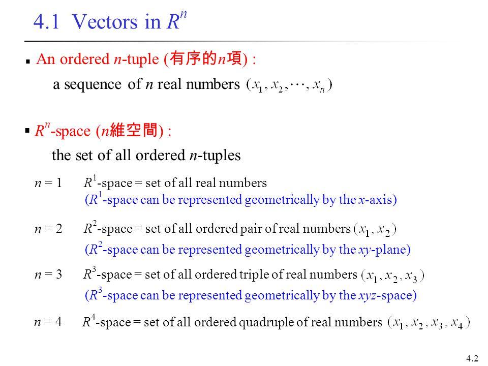 4.2 4.1 Vectors in R n a sequence of n real numbers An ordered n-tuple ( 有序的 n 項 ) : the set of all ordered n-tuples  R n -space (n 維空間 ) : n = 4 R 4