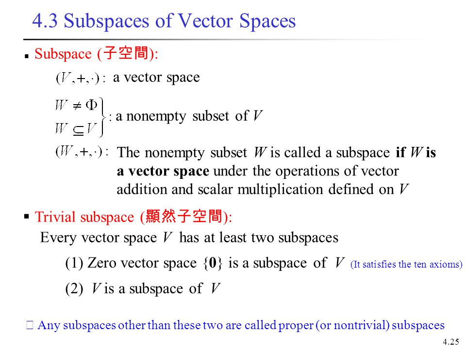 4.25 4.3 Subspaces of Vector Spaces Subspace ( 子空間 ): a vector space a nonempty subset of V The nonempty subset W is called a subspace if W is a vecto