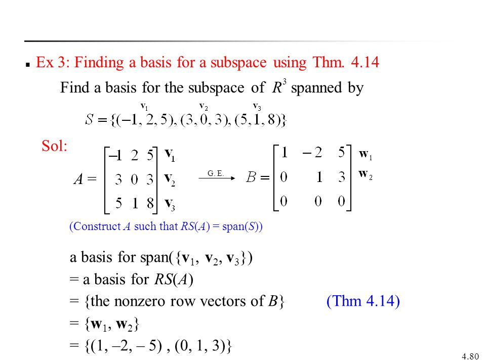 4.80 Ex 3: Finding a basis for a subspace using Thm. 4.14 Find a basis for the subspace of R 3 spanned by Sol: a basis for span({v 1, v 2, v 3 }) = a
