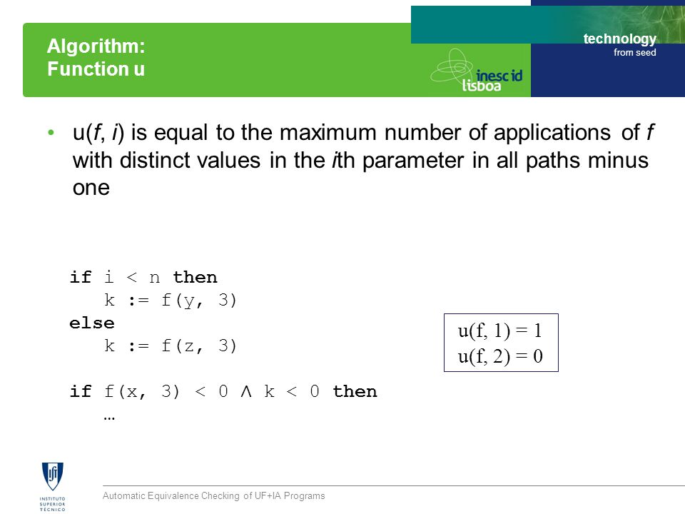 technology from seed u(f, i) is equal to the maximum number of applications of f with distinct values in the ith parameter in all paths minus one Auto