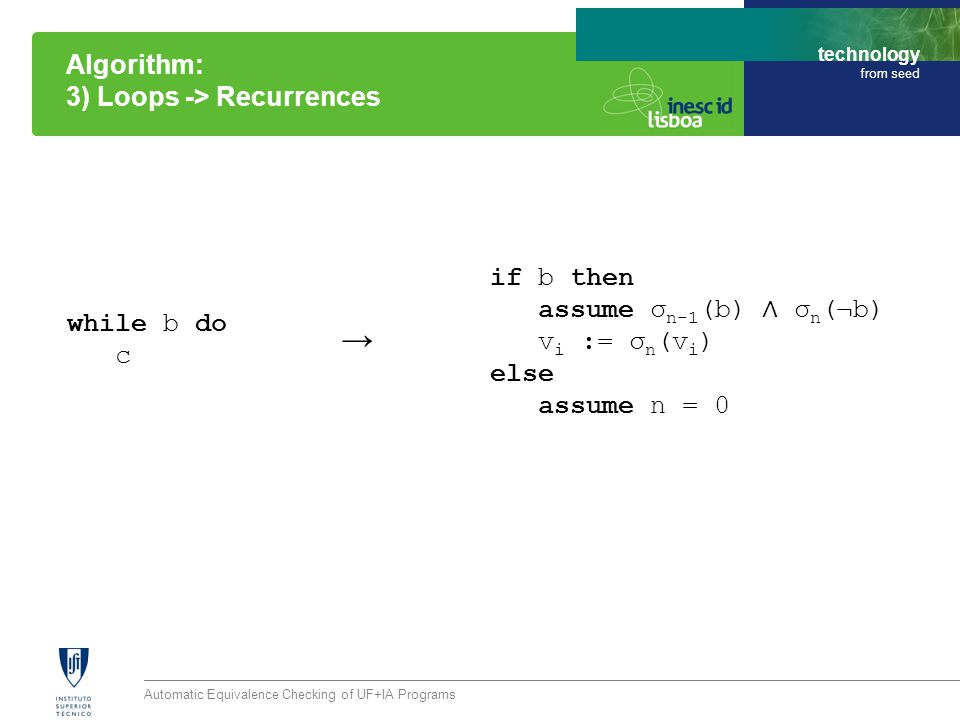 technology from seed Automatic Equivalence Checking of UF+IA Programs Algorithm: 3) Loops -> Recurrences while b do c if b then assume σ n-1 (b) ∧ σ n