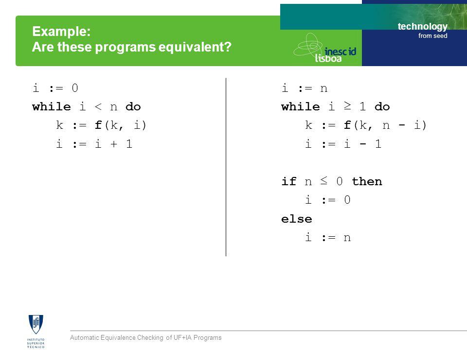 technology from seed Automatic Equivalence Checking of UF+IA Programs Algorithm: 1) Sequential Composition assume v = v P1(v) P2(v) assert v = v