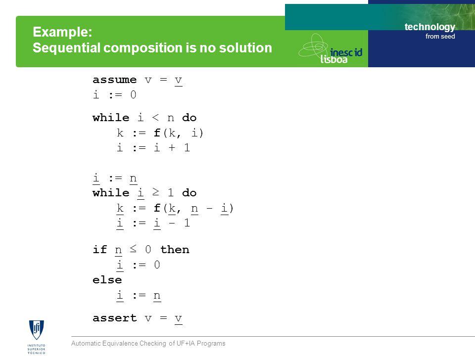 technology from seed assume v = v i := 0 while i < n do k := f(k, i) i := i + 1 i := n while i ≥ 1 do k := f(k, n - i) i := i - 1 if n ≤ 0 then i := 0