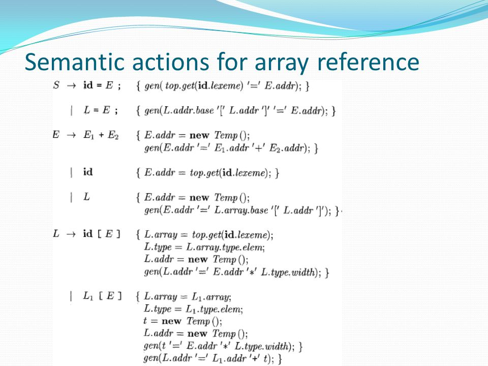 Semantic actions for array reference