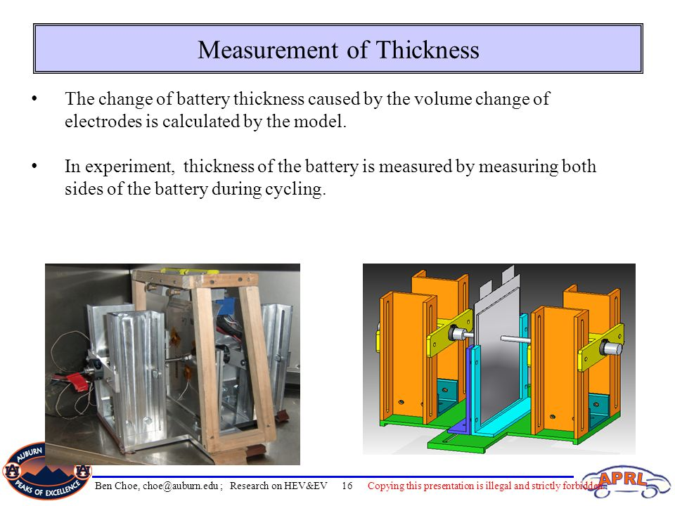 Measurement of Thickness The change of battery thickness caused by the volume change of electrodes is calculated by the model.