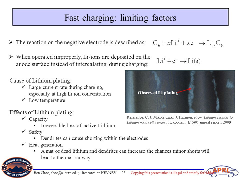 Fast charging: limiting factors Effects of Lithium plating: Capacity Irreversible loss of active Lithium Safety Dendrites can cause shorting within th